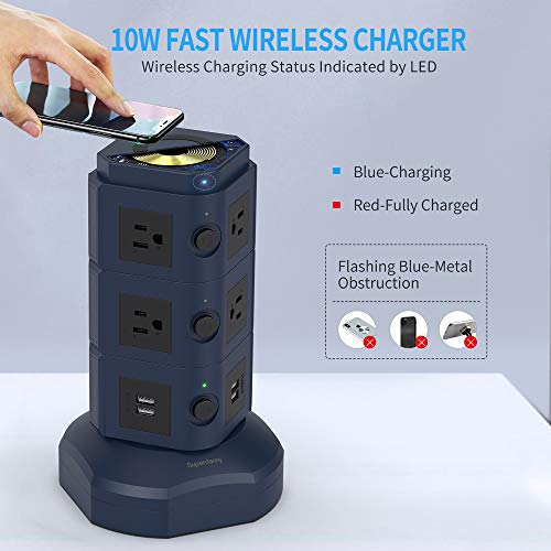 SUPERDANNY Surge Protector Tower with 10W Wireless Charger, Spin Power Strip Tower 13A Vertical Charging Station with 10 AC Outlets+4 USB Slots and 6.5ft Extension Cord for Home Office Garage, Blue