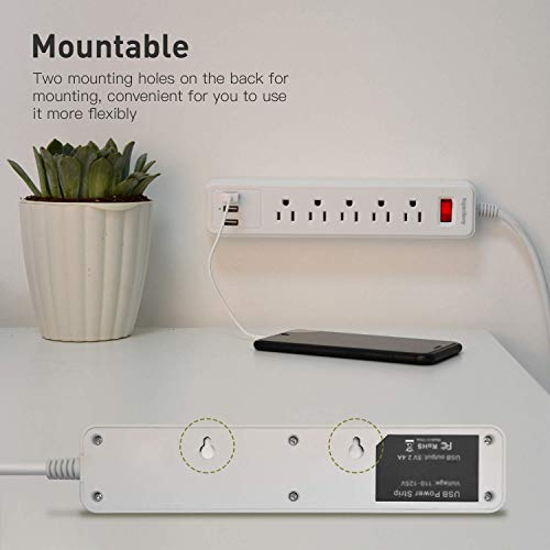 SUPERDANNY Mountable Power Strip with USB White