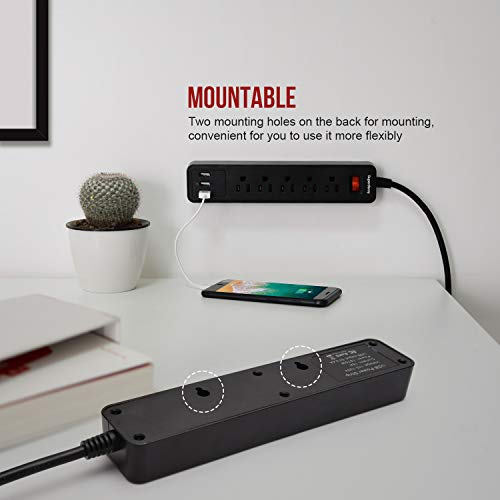 SUPERDANNY Fire-Proof Power Strip with USB Mountable Black