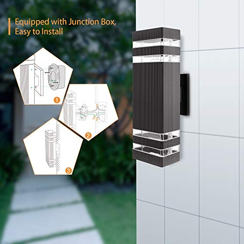 ETL Approval Outdoor Wall Light Fixtures, 4 Replaceable E26 Base Warm Light LED Bulbs, SUPERDANNY