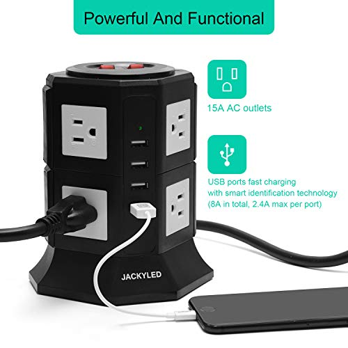 JACKYLED USB Power Strip8 AC Outlets 3000W 15A and 4 USB Slots 8A