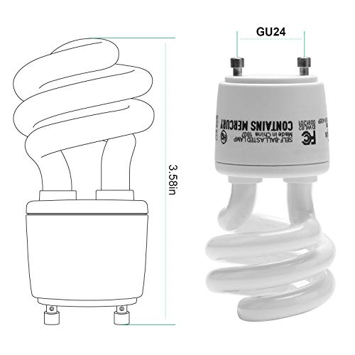 JACKYLED Gu24 CFL Light Bulbs 6-Pack