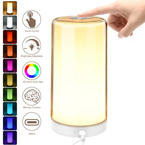 Table Lamp LED Touch Bedside Lamps with Stepless Dimmable 2800-6500K Warm to White Light & 16 Million Color Changing RGB, SUPERDANNY