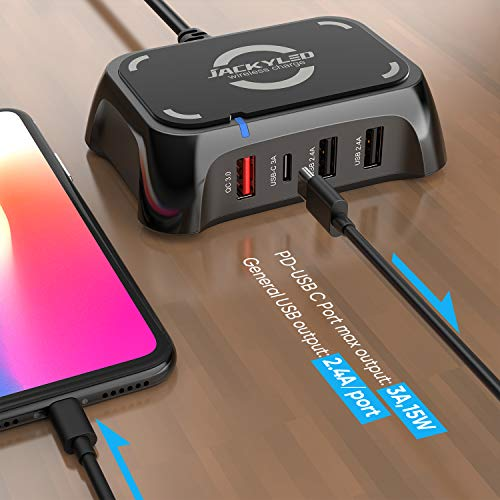 USB C Charger Mini Wireless Charger with Quick Charge 3.0 JACKYLED Desktop 4 Ports USB Charging Station for Multiple Devices Compatible with iOS and Android Devices iPhone Samsung Qi 5W Black