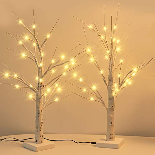 JACKYLED Upgraded 2FT 28 LED Lighted Birch Tree with Timer & USB Cable Battery Operated