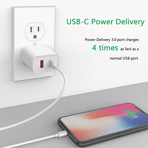 SUPERDANNY USB C Charger, 18W Power Delivery Power Adapter with QC 3.0, Dual Port Type C Wall Charger, LG