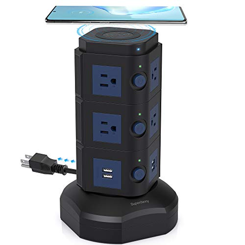 SUPERDANNY Surge Protector Tower with 10W Wireless Charger, Spin Power Strip Tower 13A 3000W Charging Station with 10AC Outlets+4 USB Slots and 6.5ft Extension Cord for Home Office Garage, Black+Blue