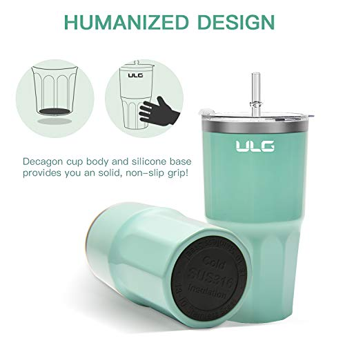 30oz Tumbler ULG Stainless Steel Travel Coffee Mug with Leakproof Lids, Straw, Pipe Brush (Green)