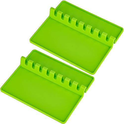 ULG 2PCS Silicone Utensil Rest with Large Drip Pad 8 Slots Heat-Resistant 428℉ Silicone Spoon Rest, 10''x 8.5'' Spoon Rest & Spoon Holder for Stove Top, BBQ Utensil Holder for Spoon, Spatula, Green