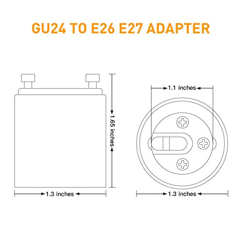 JACKYLED GU24 to E26 E27 Adapter 6-pack