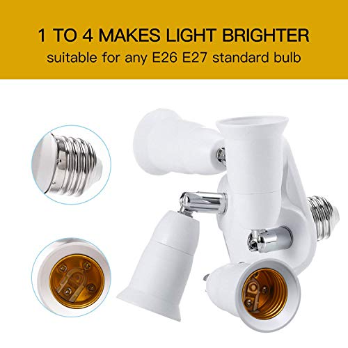JACKYLED 4 in 1 Light Socket Splitter E26 E27 Adapter