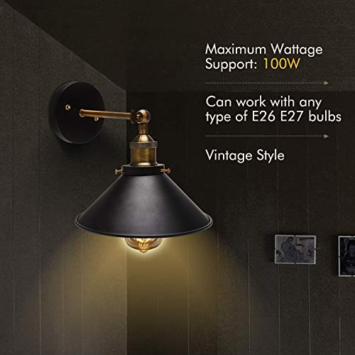 JACKYLED Wall Sconces 2-Pack UL Black Hardwire Industrial Vintage Wall Lamp