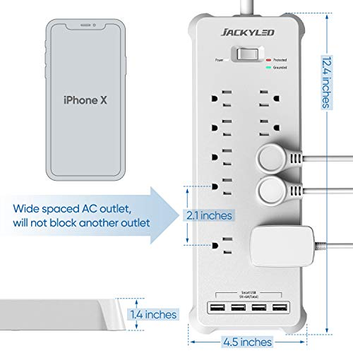 Power Strip Wall Mountable Surge Protector JACKYLED White