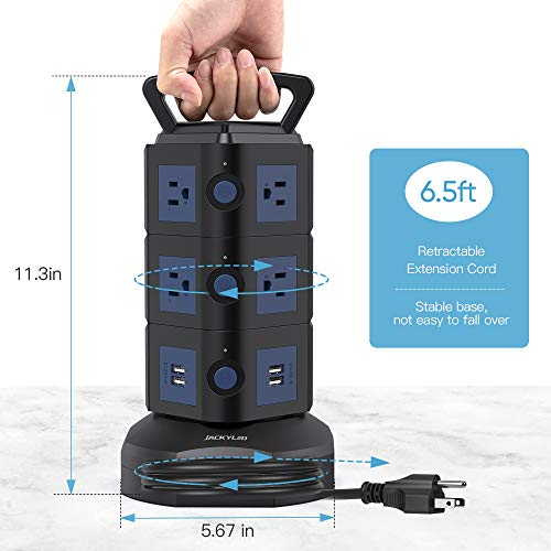 JACKYLED Power Strip Tower Surge Protector 4 USB Ports and 10 AC Outlets with 6.5ft Extension Cord 13A Electric Charging Station for Home Office Dorm Desktop Computer Black Dark Blue