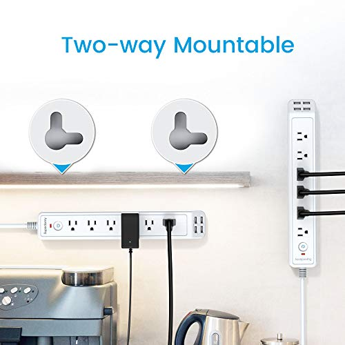 SUPERDANNY Power Strip Surge Protector Mountable Extension Cord Multiple Protection 6 Outlet 4 USB Ports