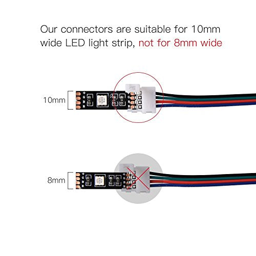JACKYLED RGB 5050 3528 LED Light Strip Connector 10-Pack Wire Solderless