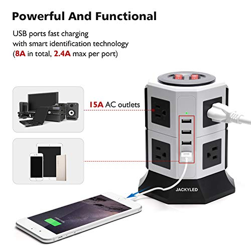 6FT 4 USB 8A Tower Power Strip 8 Outlets 3000W 15A 2 Switch JACKYLED Electric Vertical Charging Station Charger USB Hub with Extension Cord For Home Office Workshop-White and Black