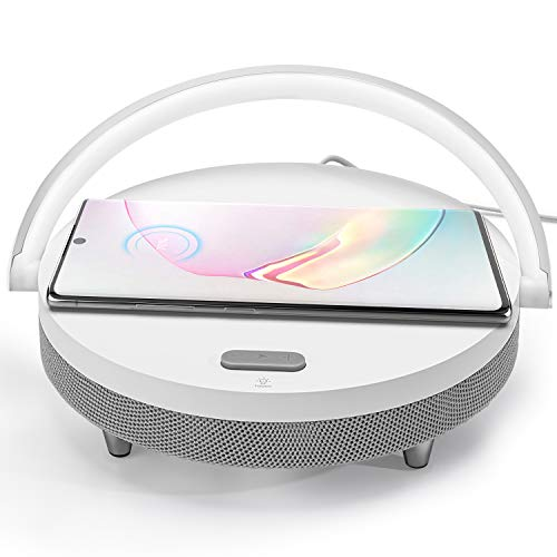 JACKYLED Bluetooth Speaker with Wireless Charger and LED Night Light Fast Charging Stand White
