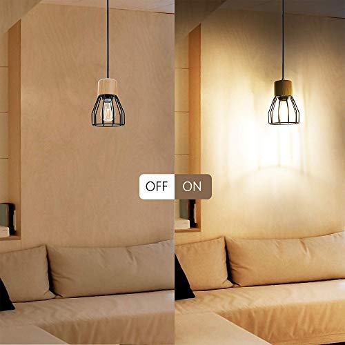 JACKYLED UL Industrial Pendant Light Wood Pattern Ceiling Light