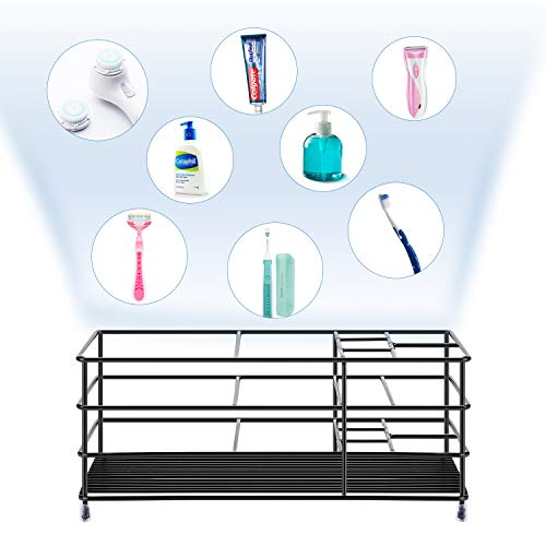 ULG Toothbrush Holder, Stainless Steel Bathroom Organizer Tooth Brush Toothpaste Holder with 7 Multifunctional Slots, Black