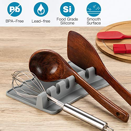 ULG 2PCS Silicone Utensil Rest with Drip Pad 6 Slots Heat-Resistant 410℉ Silicone Spoon Rest, 9'' x 5'' Spoon Rest & Spoon Holder for Stove Top, Spoon, Ladle, Spatula, Grey