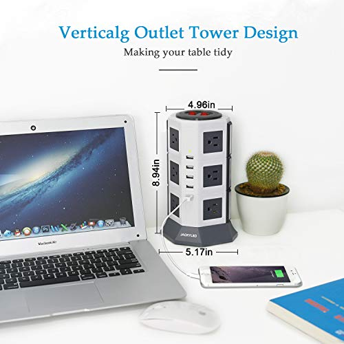 JACKYLED 12 Outlet Power Strip Tower Grey
