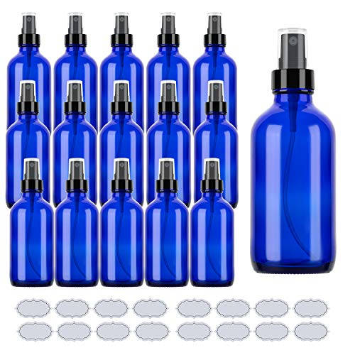 Blue Glass Spray Bottles 4oz ULG 16 Piece, Blue