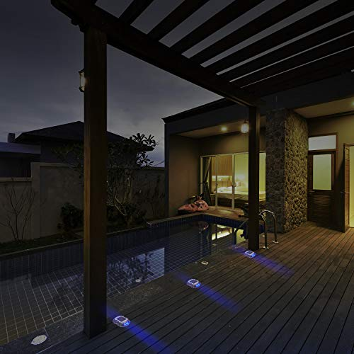 JACKYLED Solar Deck Lights 8-Pack Solar Dock Lights Bright Blue