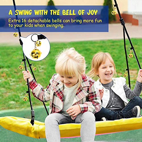 PACEARTH Tree Swing for Kids Adults with 16 Jingle Bells ASTM Certified Support 660lb