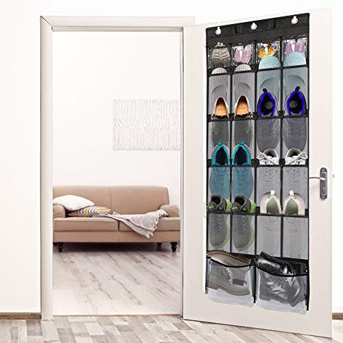 Over The Door Shoe Organizer ULG Shoe Holder with 22 Extra Large Clear Pockets Hanging Shoe Organizer with 3 Adjustable Metal Hooks Black & White (62 x 21 inch)