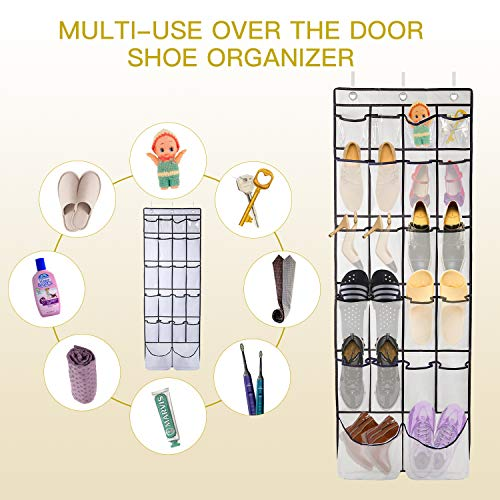 Over The Door Shoe Organizer ULG Shoe Holder with 2 Extra Large Clear Pockets Hanging Shoe Organizer with 3 Adjustable Metal Hooks for Bedroom Closet Bathroom Kitchen, 1 Pack White (62 x 21 inch)