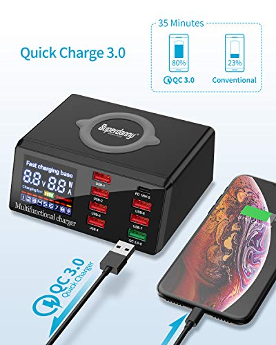 Multiple USB Charger with 18W PD Port, SUPERDANNY 10W Wireless Pad with USB C Port & Quick Charge 3.0 & LCD Display,Black