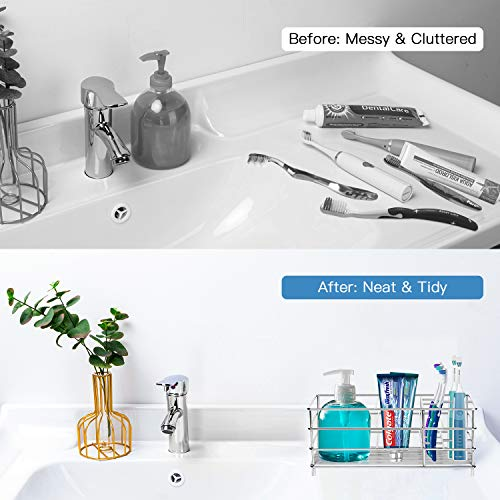 ULG Toothbrush Holder for Bathroom, Stainless Steel Tooth Brush Holder with 7 Multifunctional Slots, Silver