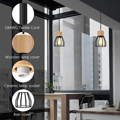 JACKYLED UL Industrial Pendant Light Wood Pattern Ceiling Light Fixtures Black Cage Pendant Lighting for Kitchen Island 1-Light Hanging Light Fixtures for Living Room Dining Room