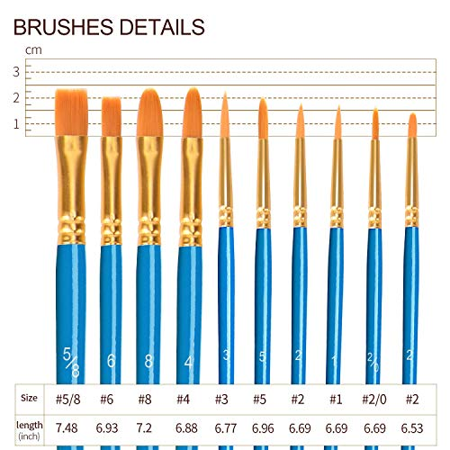 ULG Acrylic Paint Brushes Set 6 Packs /60 Pieces Watercolor Brush Set Paint Brush