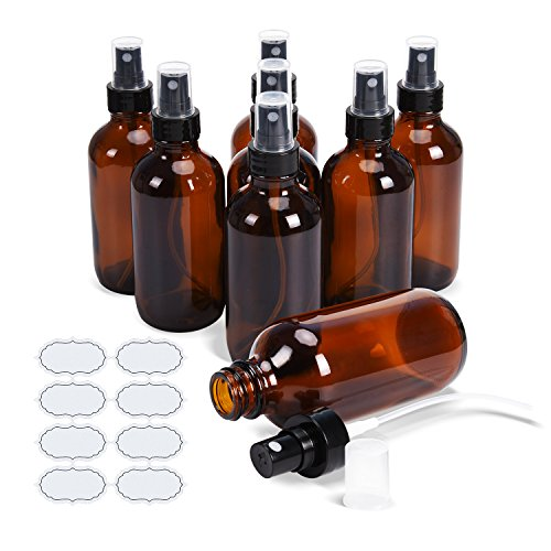 ULG Fine Mist Sprayers 8 Piece 4 oz Amber Glass Bottles