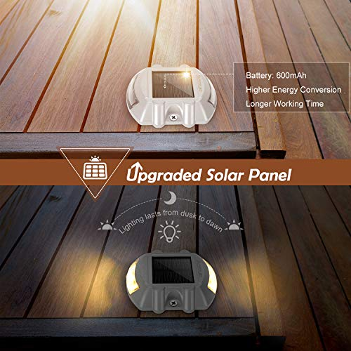 Upgraded Warm White Solar Boat Dock Lights with Switch 6-Pack JACKYLED Solar Driveway Lights Weatherproof Wireless Outdoor Road Markers for Deck Step Stair Garden Ground Pathway