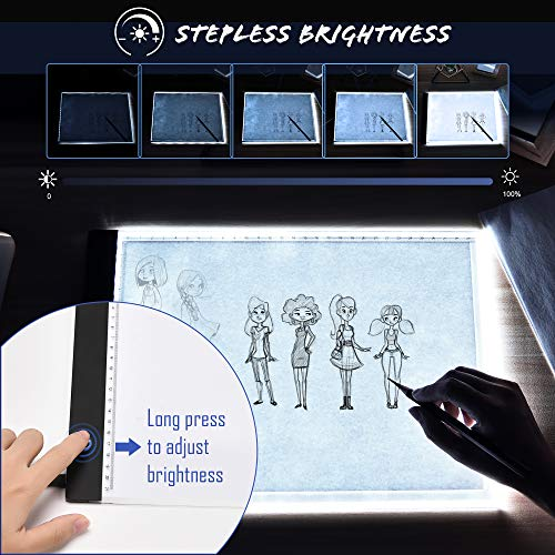A4 LED Light Box for Artcraft Tracing, SUPERDANNY Ultra-Thin Portable Dimmable Brightness Copy Board with Clips, USB Powered Light Pad for Artists Drawing Sketching Animation 5D DIY Diamond Painting