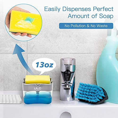 ULG Dish Soap Dispenser for Kitchen, Soap Dispenser with Sponge Holder