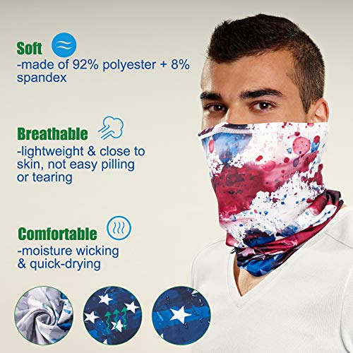 PACEARTH Face Cover Mask Bandana Neck Gaiter Scarf, US flag 01, Adult/Kid