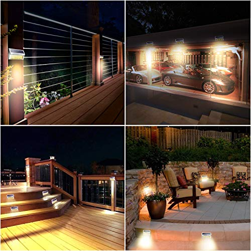 JACKYLED Upgraded 30 LED Solar Step Lights 3000K Warm White 10-Pack Outdoor