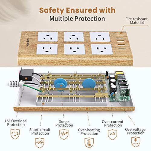 15A Surge Protector Power Strip, 6 AC Outlet 4 USB Ports,  SUPERDANNY,Light Wood Grain