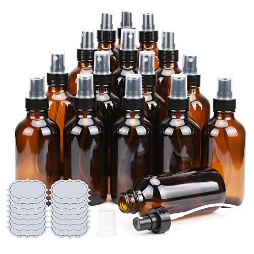 Amber Glass Spray Bottles 4oz ULG Fine Mist Sprayers 16 Piece