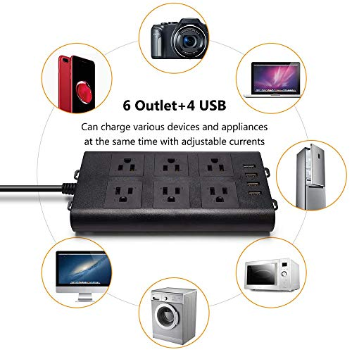 SUPERDANNY 15A Surge Protector Power Strip 6 Outlet 4 USB Ports