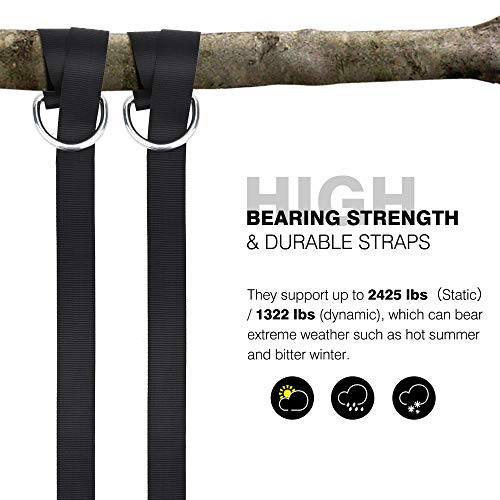 PACEARTH Swing Hanging Tree Straps Kit Holds Max 2425 lbs Long Straps with Heavy Duty Carabiners Perfect for Tree Tire Disc Swings Camping Hammocks Accessories, Easy Fast Installation - 2 Pcs