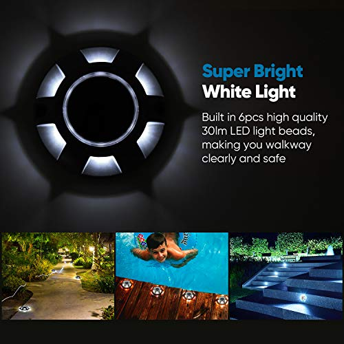 LED Bright White Solar Dock Lights JACKYLED Outdoor Driveway Lighting Waterproof Security Warning Road Markers with No Wiring Required for Boat Deck Step Stair Fence Garden Pathway Yard 6-Pack
