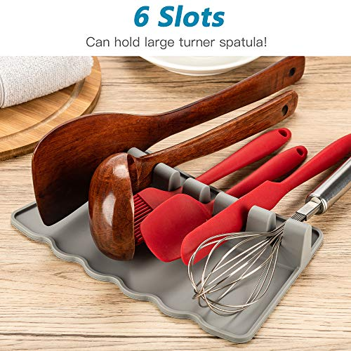 ULG 2PCS Silicone Utensil Rest with Drip Pad 6 Slots Heat, Grey