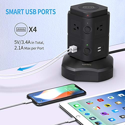 SUPERDANNY 6 AC Outlets+4 USB 6.5ft Power Strip Tower