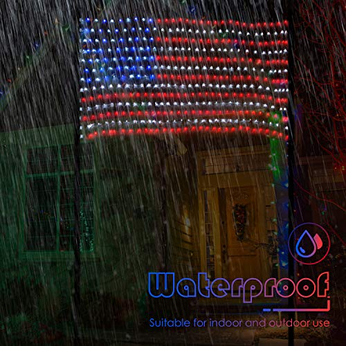 SUPERDANNY American Flag Lights with 420 LEDs, 30V Super Safer Waterproof Outdoor USA Flag Net Lights