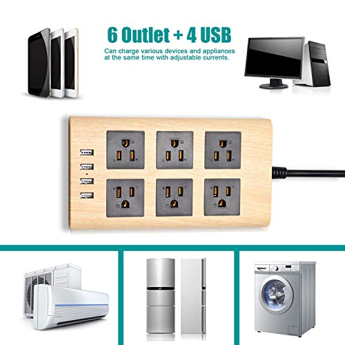SUPERDANNY 9.8ft Wood Power Strip with USB Multi-Protection Extension Cord
